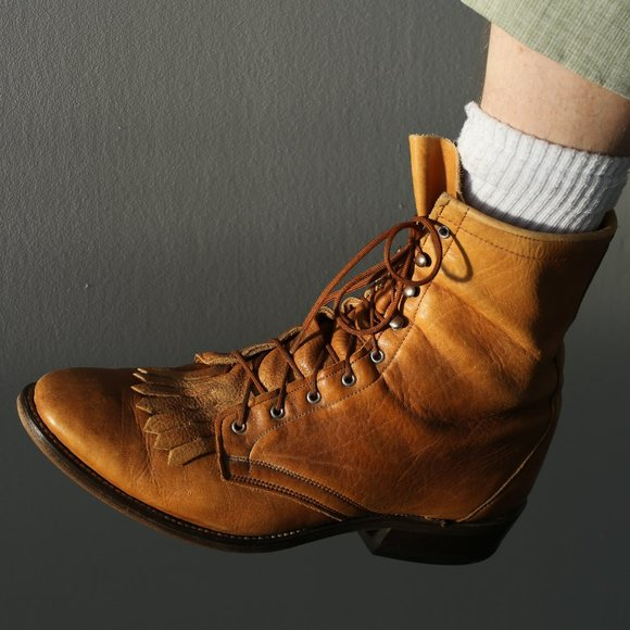 Vintage lace-up western boots